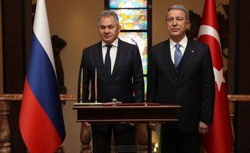Milli Savunma Bakanı Hulusi Akar, Rusya Federasyonu Savunma Bakanı Sergey Şoygu ile görüştü
